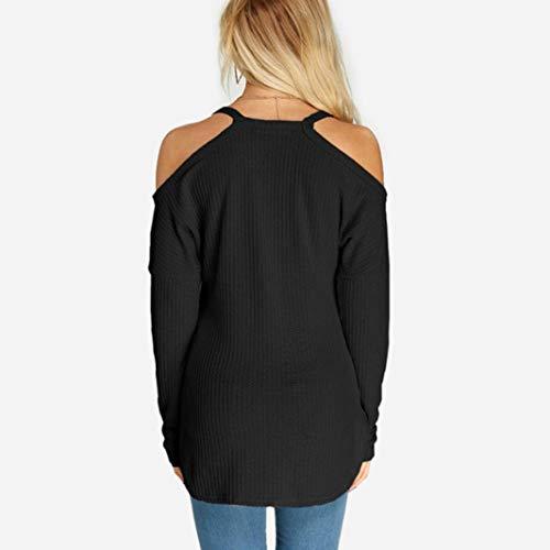 Chemiser Shirt Uni Bringbring Froide Blouse Asymetrique Femme paule Noir Top Chic Chemise Tunique Shirt Casual Couleur Pull T Sexy ZzT0qnq1