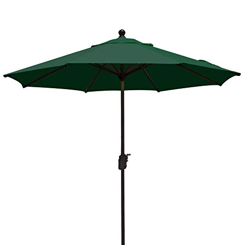 EliteShade Sunbrella 9Ft Market Umbrella Patio Outdoor Table Umbrella Ventilation,Bonus Weatherproof Cover (Sunbrella Forest Green)