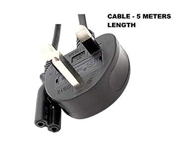 5 m (metros) 16 ft 2 pin enchufe británico cable de alimentación ...