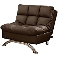 HOMES: Inside + Out ioHOMES Saint Bruno Padded Leatherette Convertible Chair, Dark Brown