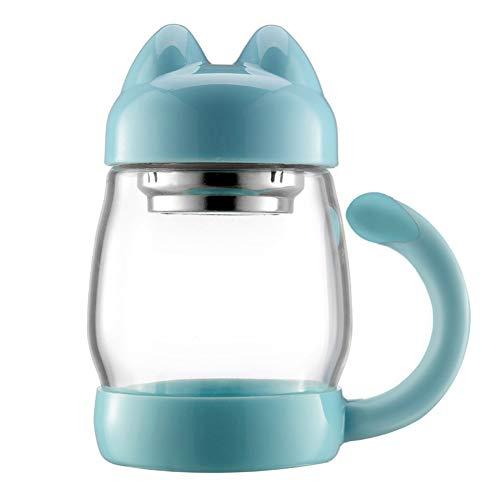 TMJJ Cute Cat 420ml Glass Water Bottle Tea Beverage Bottle Wide Mouth with Handle,Food-Grade PP,Leak Proof,Blue