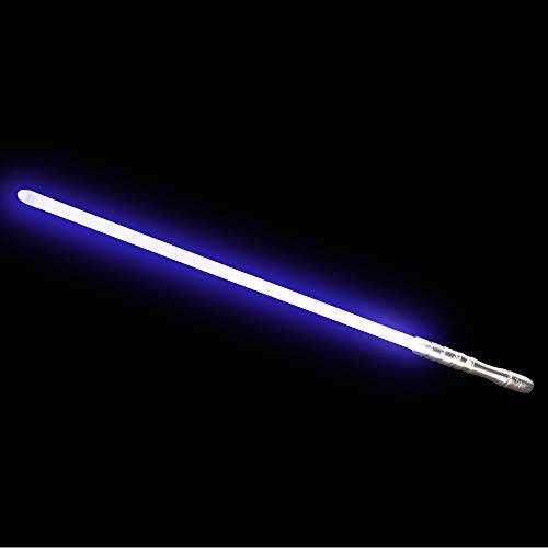 YDD Star Wars LED Light Up Saber Force FX Sword Heavy Dueling, Rechargeable Lightsaber, Loud Sound Hight Light with FOC, Metal Hilt Light Sword (Silver Hilt Blue Blade, Medium)