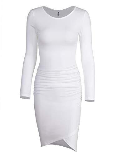 Women's Casual Long Sleeve Ruched Bodycon Sundress Irregular Sheath T Shirt Dress (Long Sleeve Ivory White-01, ()
