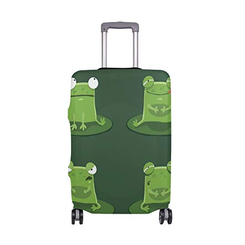 PENGTU Luggage Cover Funny Muzzy Frog On Lily Pad In Pond Hunting Tasty Fly Expressions Cartoon Animal Suitcase Protector ONLY Anti-Scratch-Fits M 22-24 INCH - Display Lily Pad Frog