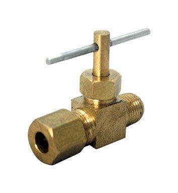 "Jmf Needle Valve 1/4 "" Comp X 1/8 "" Mpt Yellow Brass Lead Free from Jmf Company"