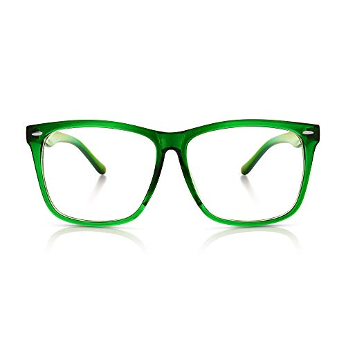 5zero1 Fake Glasses Big Frame Clear For Women Men Fashion Classic Retro Costumes Party Halloween, Green