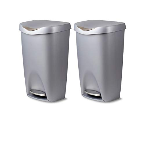 Nickel Trash Umbra Can - Umbra Brim 13 Gallon Trash Can with Lid - Large Kitchen Garbage Can with Stainless Steel Foot Pedal, Stylish and Durable, Silver/Nickel (Nickel Set of 2)