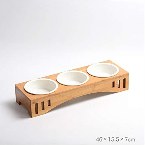 Moda Cat Bowl Bambú Madera Mascota Mesa Cerámica Perro Tazón Pet Bowl,A