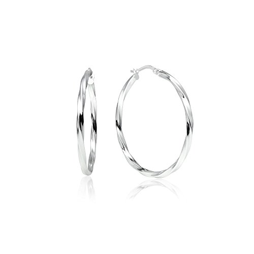 Design Sterling Silver Earrings - LOVVE Sterling Silver High Polished Twist Round Click-Top Hoop Earrings, 2x35mm