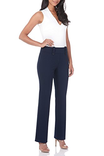 Rekucci Women's Smart Desk to Dinner Stretch Bootcut Pant w/Tummy Control (12SHORT,Navy)