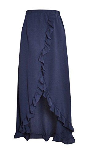 Fte C Fashion Jupe Marin Plage Couleur Jupe de Maxi Femme t Irregulier Lotus de Chic avec Fendues de Bleu Feuille t Unie New Jupes O0pAO1nqw