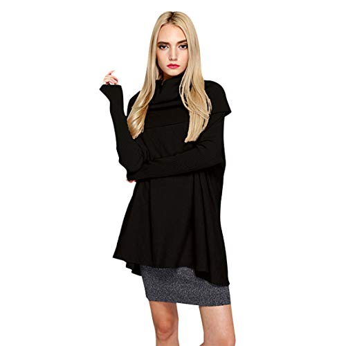 Women Loose Cuffs Oversized Knitted Top Turtleneck Cowl Neck Cable Batwing Long Pullover Sweaters Dress(Black)