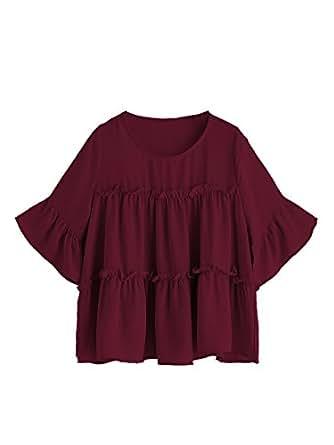 MakeMeChic Women's Ruffle Trim Bell Sleeve Blouse Babydoll Top Burgundy S