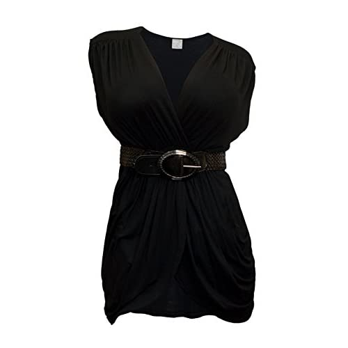 89275b8b3fb durable service eVogues Plus-size Low Cut V-Neck Tunic Top Black ...