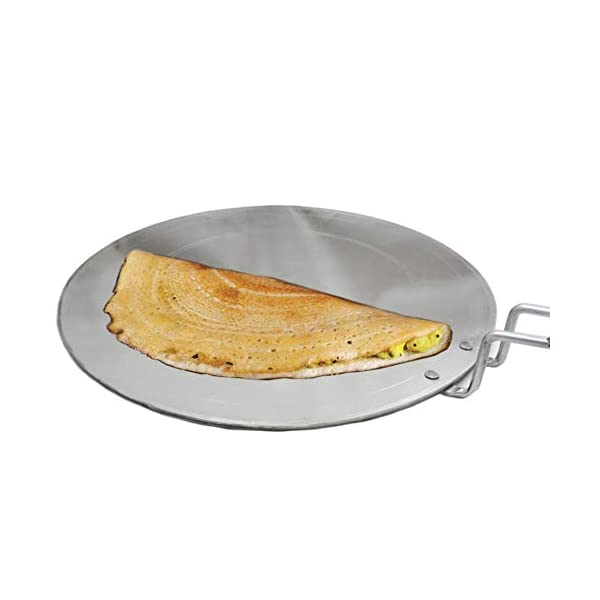 Super HK Iron Dosa Tawa Pure Iron with Handle 12 inch Width Especially Designed for Dosa/South Indian Dishes (Silver)