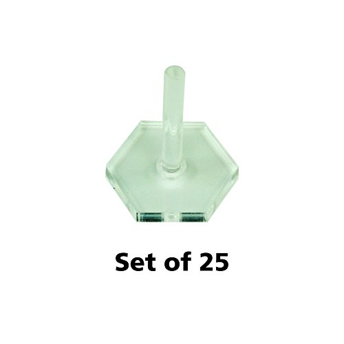 Litko Game Accessories Acrylic Flight Stands, 20mm Hexagon, 3mm Clear, 1 inch Peg (25) by Litko Game Accessories