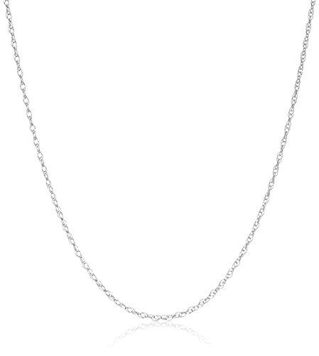 14k White Gold Lightweight Double Link Chain 0.8mm Chain Necklace, 18″