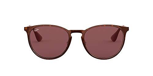 Ray-Ban RB3539 Erika Round Metal Sunglasses, Havana Bronze/Dark Violet, 54 mm (Ray-ban Erika Braun)