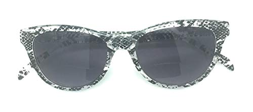 Women's Bi-Focal SunReaders Fashion Cat Eye Sunglasses 1.75 (Black/White Snake print, ()