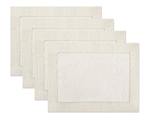100% Linen Hemstitch Placemats - (Set of 4) Size 14x19 Ivory - Hand Crafted and Hand Stitched Placemats with Hemstitch detailing. The pure Linen fabric works well in both casual and formal settings]()