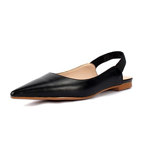 Mujer 1 Planos de Zapatos 3 OL Shoes Oveja EU 39 Negro Piel de Tamaño Color Temperament dOYxpnIw
