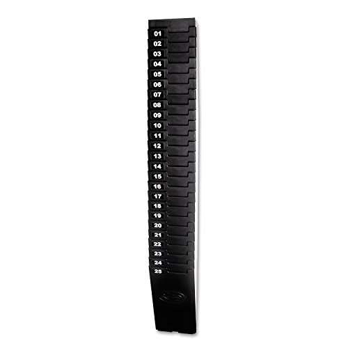 Lathem Expanding Time Card Rack for 7 Inch Cards, 25 Pockets, Black Plastic, Mounting Hardware (25-7EX)