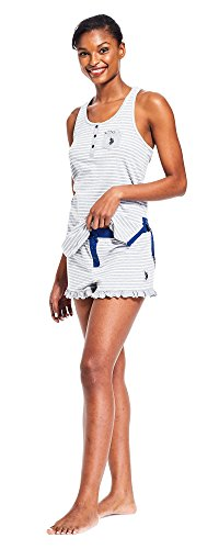U.S. Polo Assn. Womens 2 Piece Racer Back Tank Top & Pajama Shorts Sleepwear Set Heather Grey ()