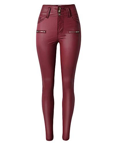 Qitunc Elasticità Alta Leggings Matita Skinny Vita Pantaloni Bodeaux Ecopelle Donna Pu Jeans SxrHwqOSF