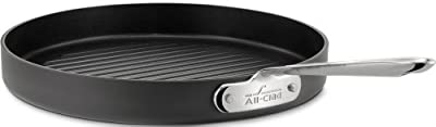 All-Clad 3012 Hard Anodized Aluminum Scratch Resistant Nonstick Anti-Warp Base Round Grille Pan Specialty Cookware, 12-Inch, Black