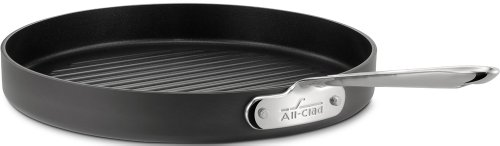 All-Clad 3012 Hard Anodized Aluminum Scratch Resistant Nonstick Anti-Warp Base Round Grille Pan Specialty Cookware, 12-Inch, Black by All-Clad