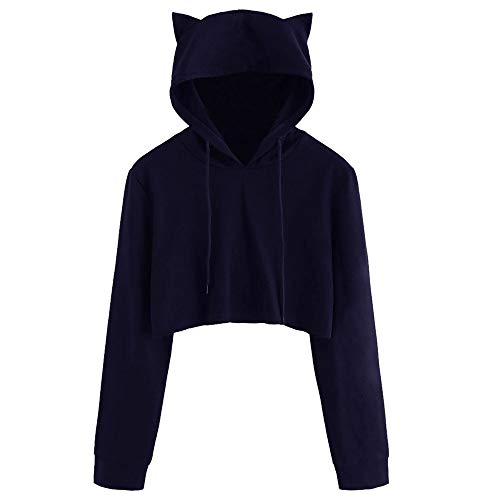 DongDong Womens Casual Sweatshirt, Short Cat Ear Solid Long Sleeve Hoodie Pullover -