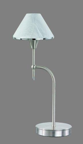 E14 Glas weiß Nickel Höhe 25cm TRIO Tischleuchte-Touch me-