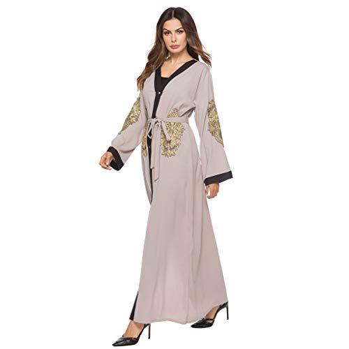 HIRIRI Women's Muslim Embroidered Cardigan Long Sleeve Dress High Waist Lace-up Loose Robe Gray