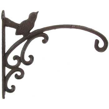 Aunt Chris Products - Large Heavy Cast Iron Basket Hanger - One Bird On Scroll Design - Rustic Bronze - One Bird - Indoor or Outdoor Use (Outdoor Bronze Hanger Rubbed)
