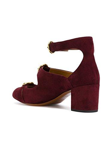 Chloé Mujer CH29204E01NR56A Burdeos Gamuza Zapatos de Tacón