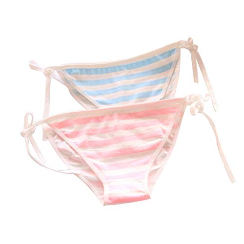 (YangYong Hot Pink Side Tie Striped Thong Panties Strawberry Lingerie)