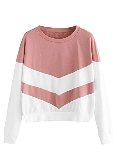 (SweatyRocks Women's Causal Pullovers Sweatshirts Crewneck Color Block Long Sleeve Shirt Tops Pink X-Small)
