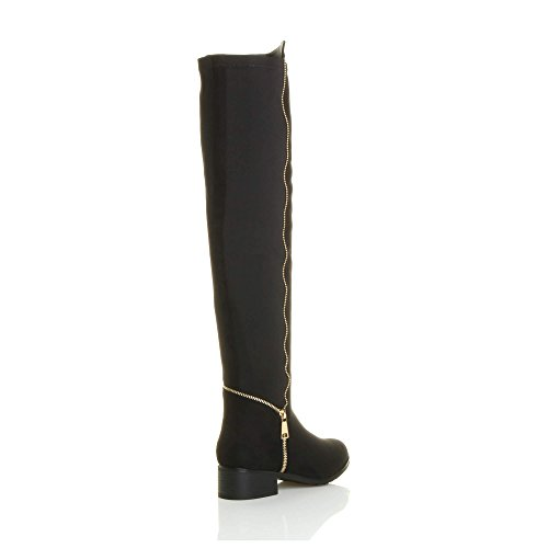 Ajvani Womens ladies high over the knee elastic curvy stretch pull on low heel boots size Black Suede Gold Zip gKasL