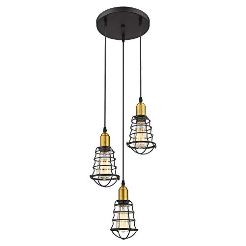 Jazava Industrial Kitchen Chandelier, 3-Light Hanging Pendant Lighting, Height Adjustable Island Lighting, Black and Antique Brass Finish