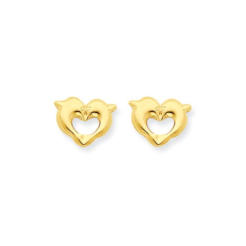 Gold Dolphin Post Earrings - 8