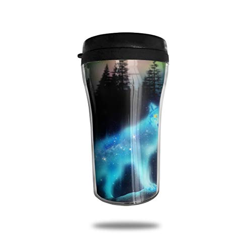FTRGRAFE Wolf Animal Screensaver Travel Coffee Mug 3D Printed Portable Vacuum Cup,Insulated Tea Cup Water Bottle Tumblers for Drinking with Lid 8.54 Oz (250 Ml)