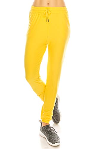 LA12ST Women's Juniors Soft Yellow Jogger Pants Drawstring Pockets