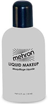 [Mehron Professional Liquid Makeup #111 White, 4.5 Ounce] (Grease Makeup)