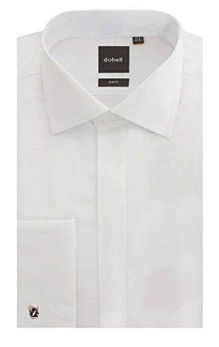 Dobell Mens White Tuxedo Shirt Slim Fit