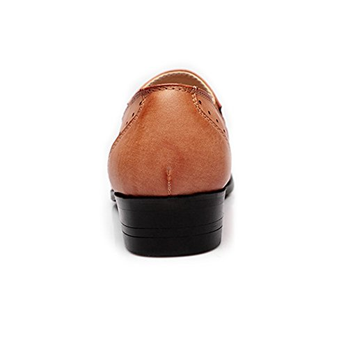 Leather Shoes, Men's Low Top Business Shoes Matte Breathable Hollow Carving PU Leather Slip-on Lined Oxfords Beige