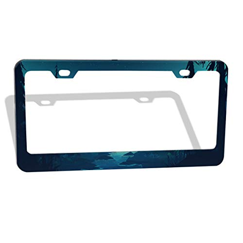 MUMO Art Fantasy License Plate Frame, 2 Pcs 4 Holes Aluminum Car Licence Plate Holder Covers for All Standard US - Sleek Car Accessories, Gorgeous Covers for License Plates (Best Way To Auto Draft Fantasy Football)