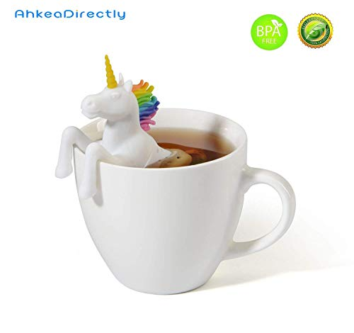 White Unicorn Modelling Safe And Non-toxic Silicone Tea Infuser Strainer Tea Filters - Cute Gift For Tea Lovers