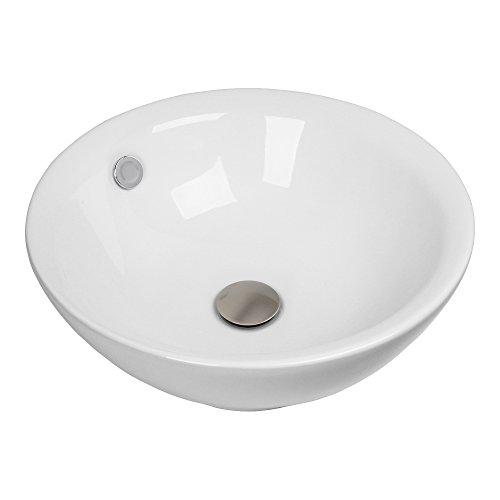 Faucet Bathroom Ceramic Vessel Sink Basin & Brushed Nickel Popup Drain Combo