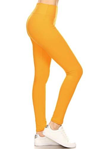 (LYX128-MUSTARD Yoga Solid Leggings, Plus Size)