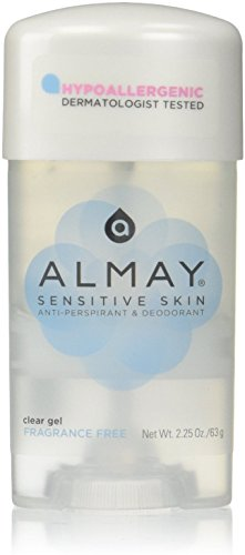 Almay Sensitive Skin Clear Gel, Anti-Perspirant and Deodorant, Fragrance Free, 2.25 Oz (Pack of 2)